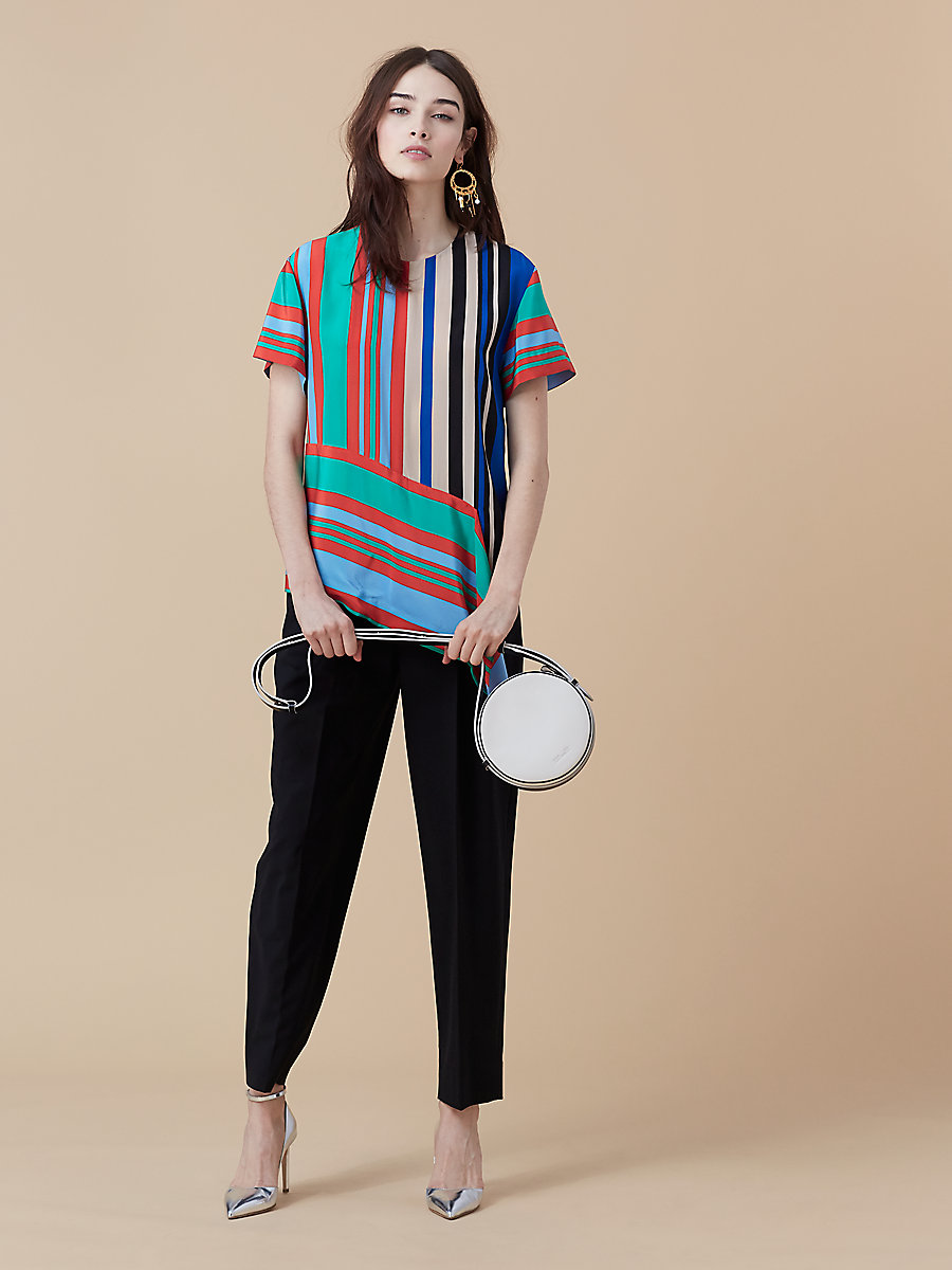 Short-Sleeve Silk T-Shirt in Borel Stripe Jade/ French Blue by DVF