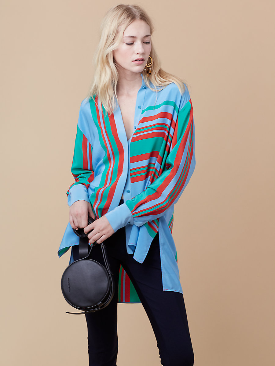 Oversized Shirt in Borel Stripe Jade/ True Blue by DVF