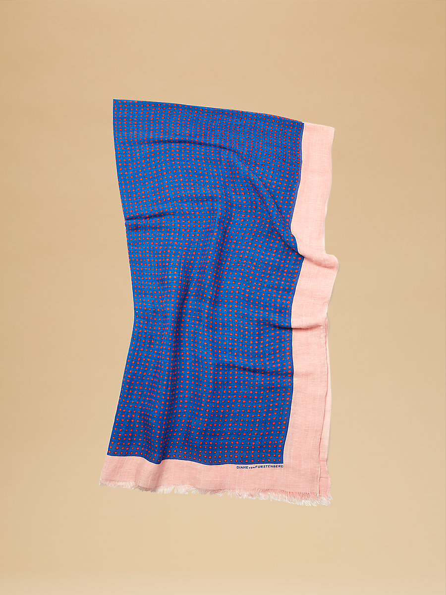 Linen Security Blanket in Ferma Ultramarine  by DVF