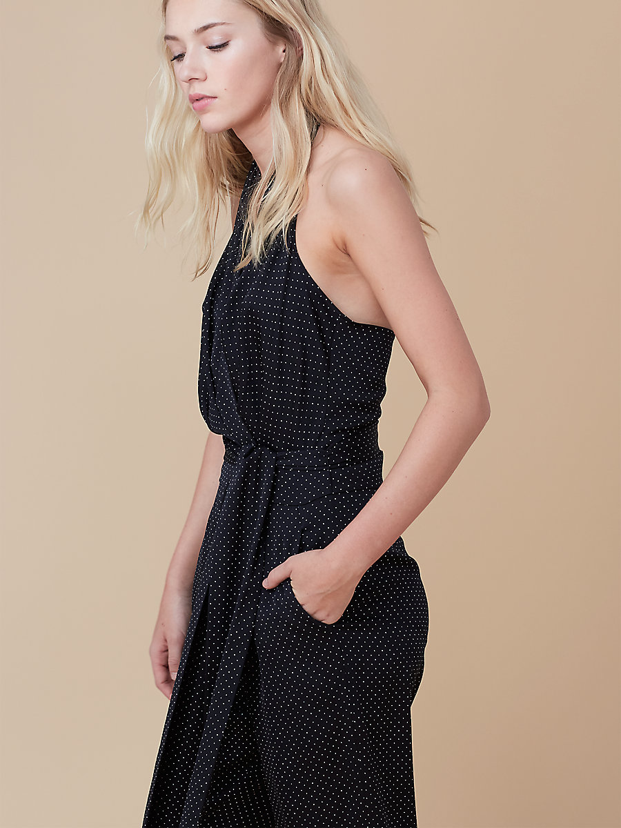 Halter Jumpsuit in Navier Dot Black by DVF