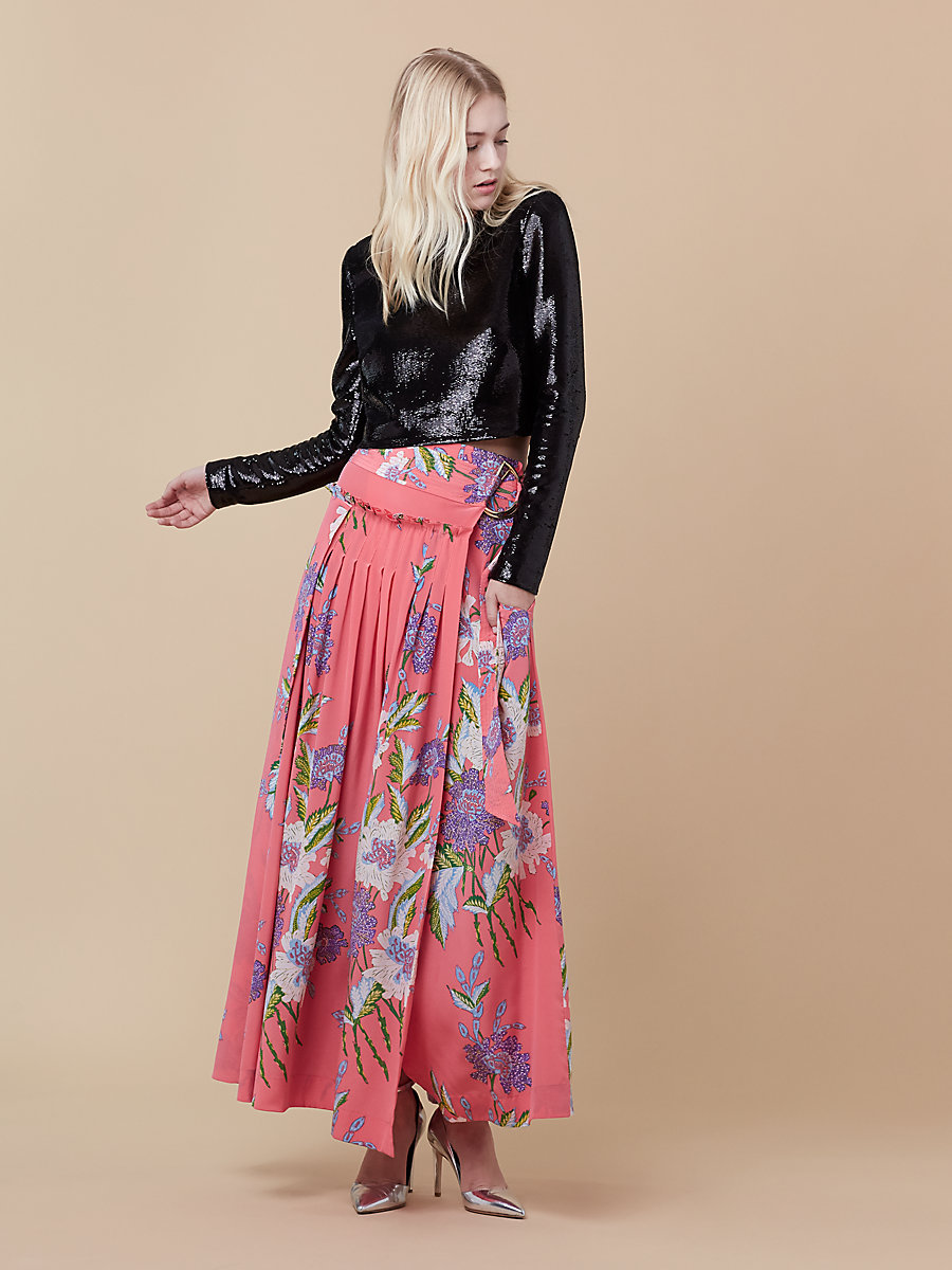 D Ring Long Skirt in Curzon Pink Coral by DVF