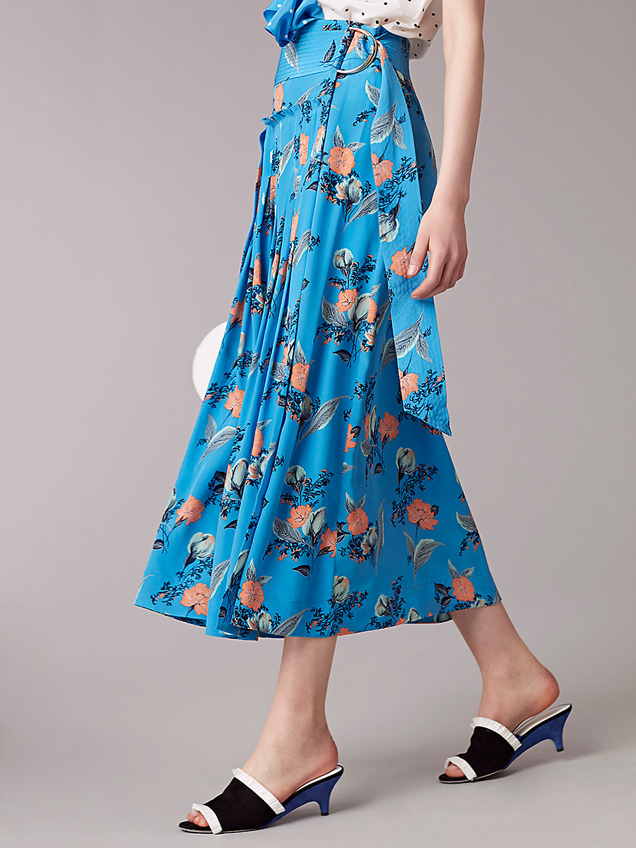 D Ring Midi Skirt in Silese Tile Blue by DVF