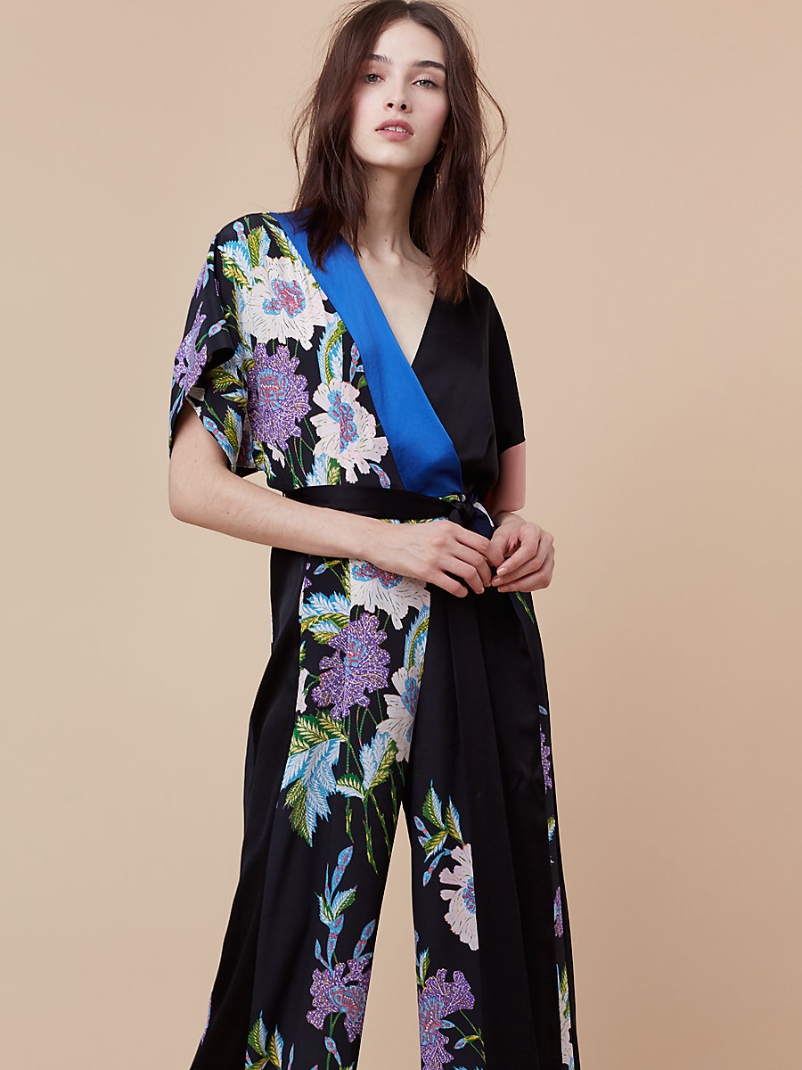 Faux Wrap Jumpsuit in Curzon Black/ French Blue by DVF