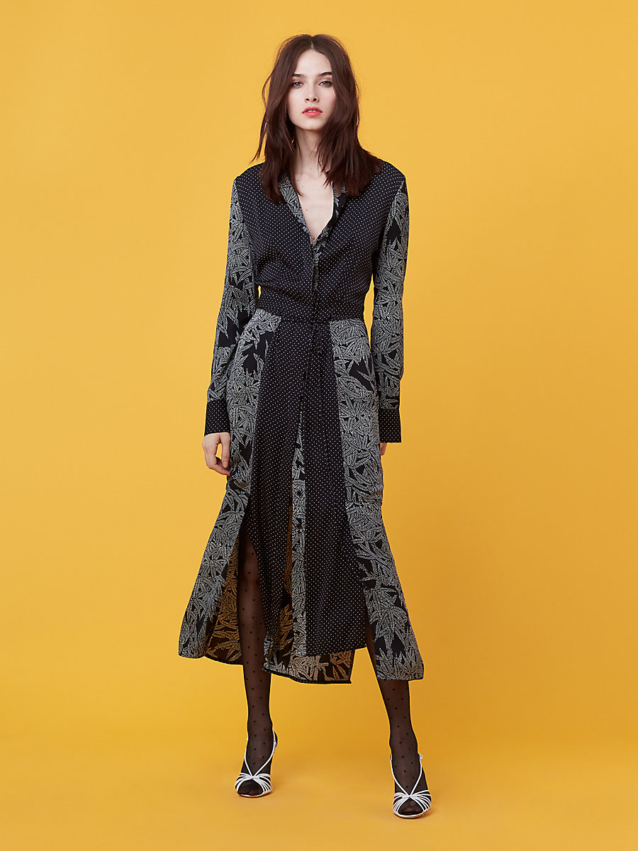 Cinch Waist Shirt Dress in Lepic Black/ Navier Dot by DVF