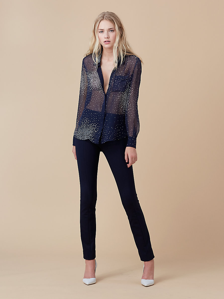 Printed Chiffon Top in Belvedere Navy/ Navy by DVF