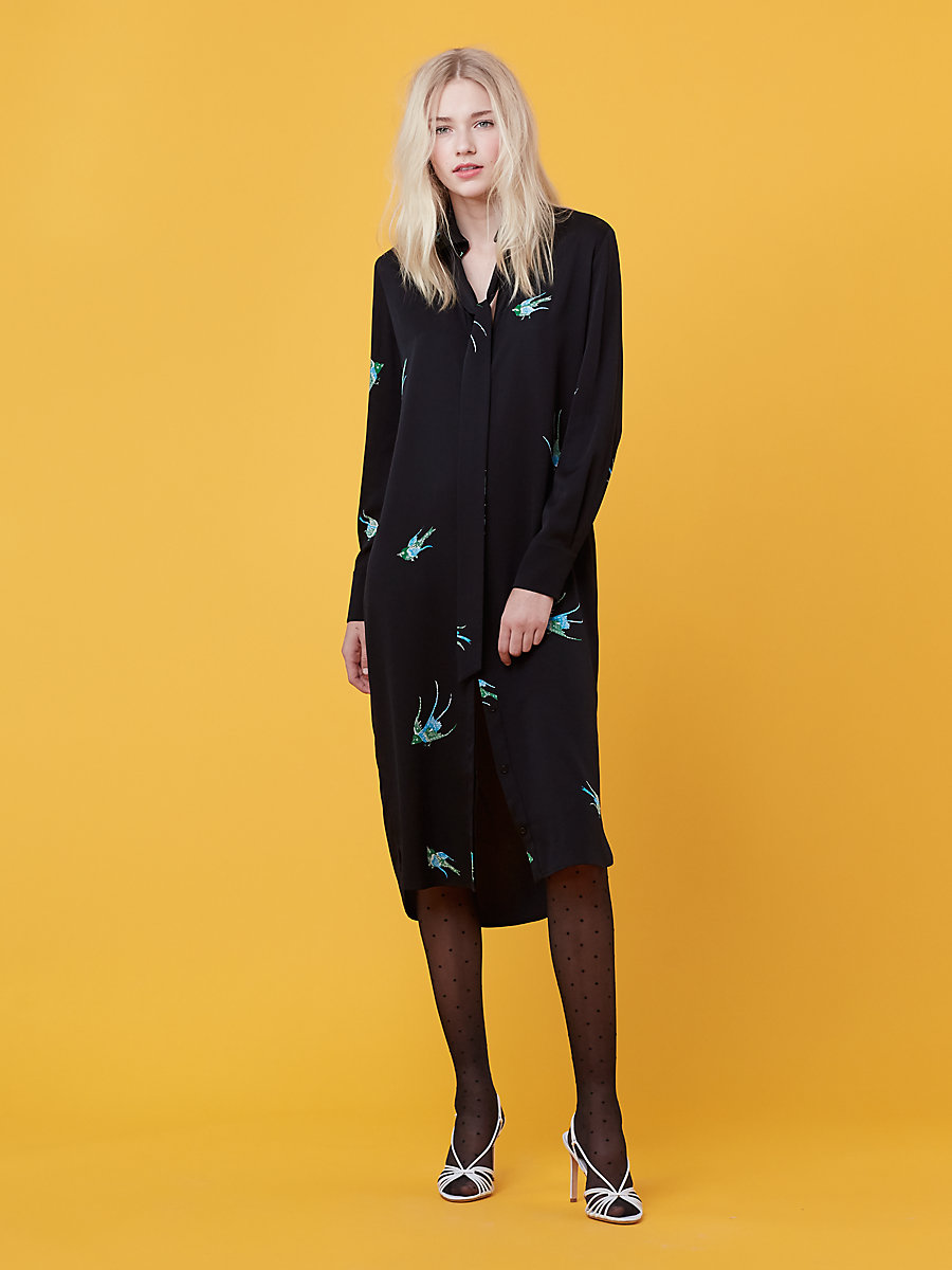 Long Sleeve Shirt Dress in Ceres Black/ Black by DVF