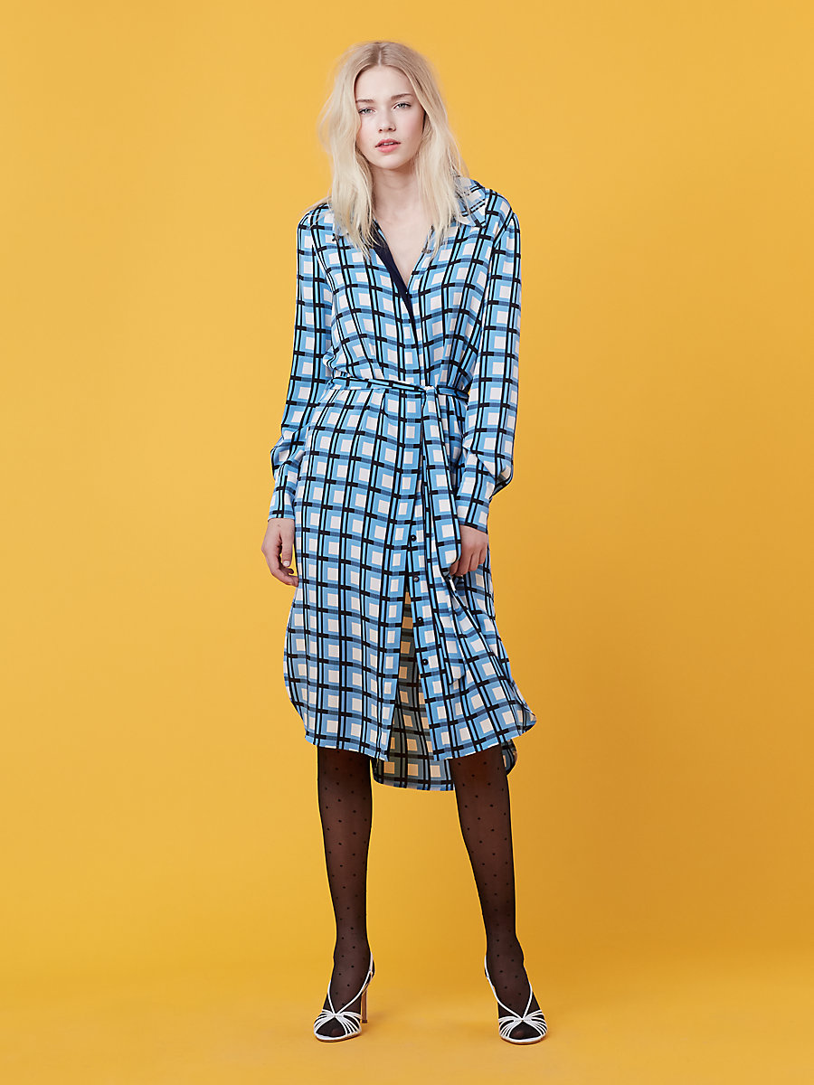Long Sleeve Shirt Dress in Rivoli Check True Blue/ Navy by DVF