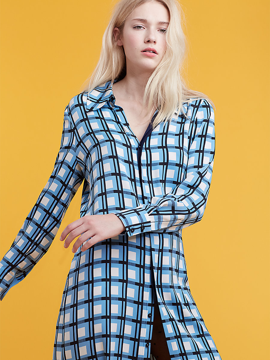 Long Sleeve Shirtdress in Rivoli Check True Blue/ Navy by DVF