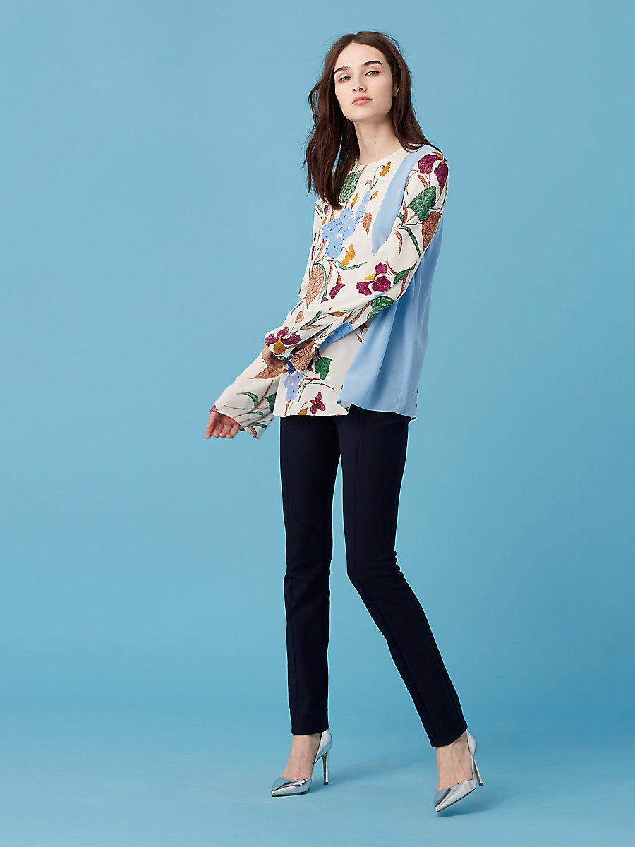 Side Slit blouse in Ampere Ivory/ Hortensia Blue by DVF