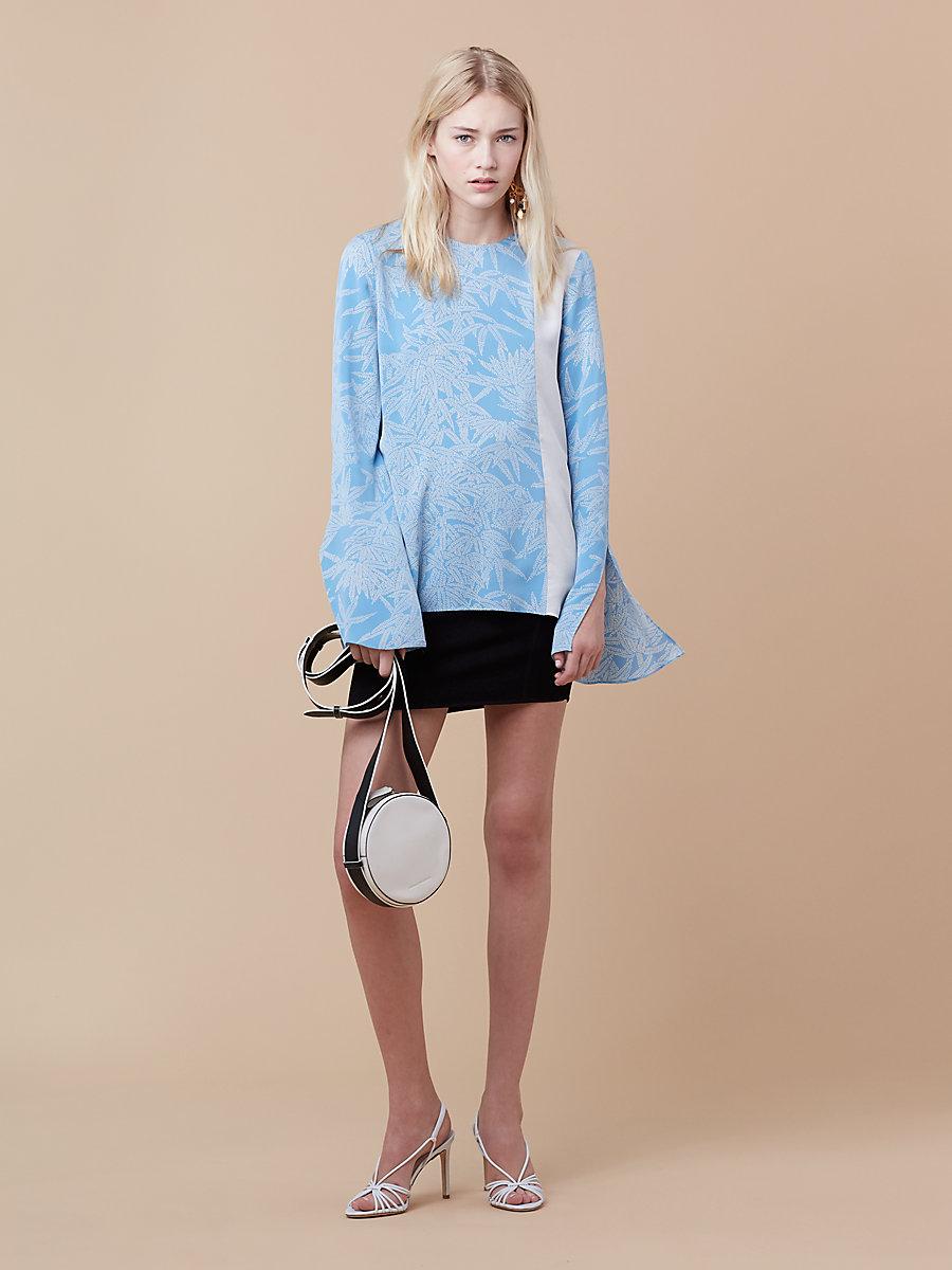 Side Slit blouse in Lepic True Blue/ Ivory by DVF