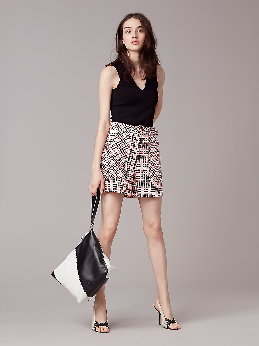 High-Waisted Short in Abel Check Ivory by DVF