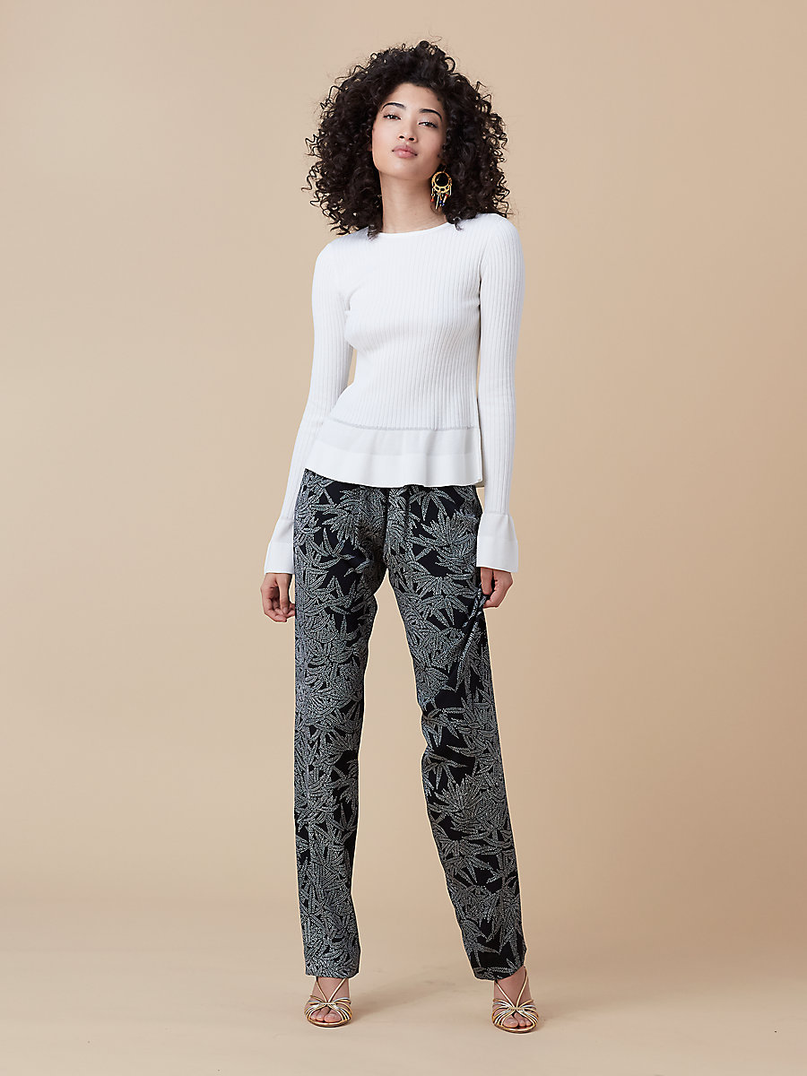 Soft Pant in Lepic Black/ Black by DVF