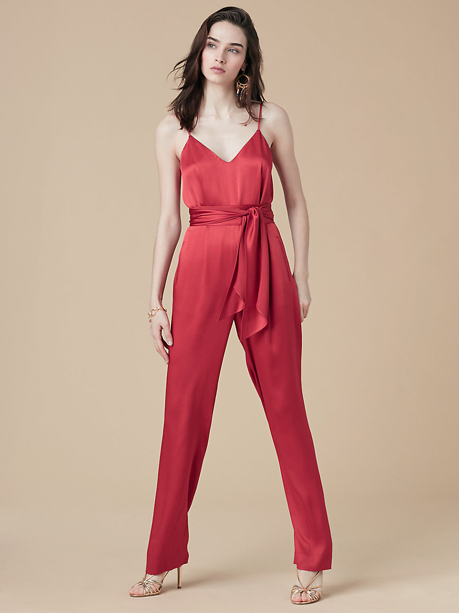 Pleat Front Jumpsuit in Cinnabar by DVF