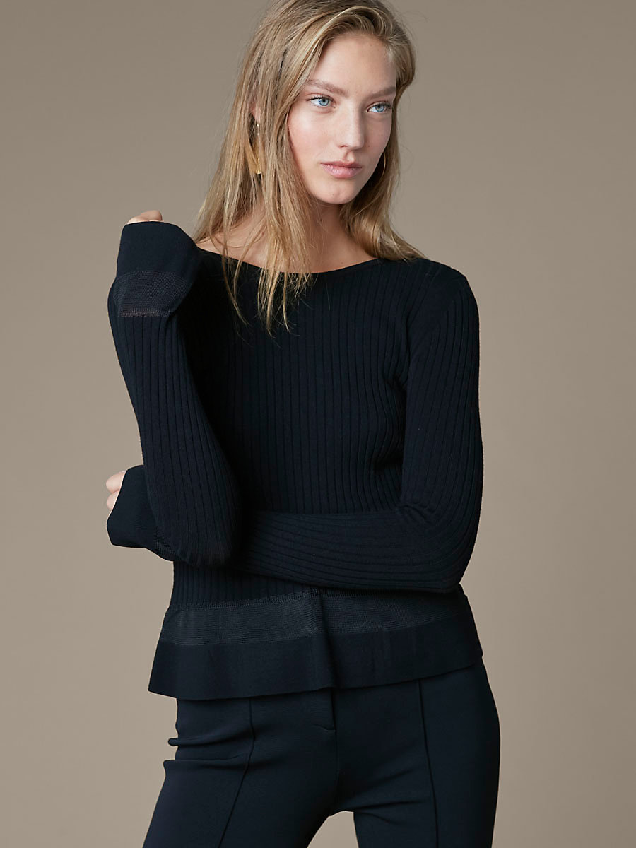Knit Peplum Top in Black by DVF