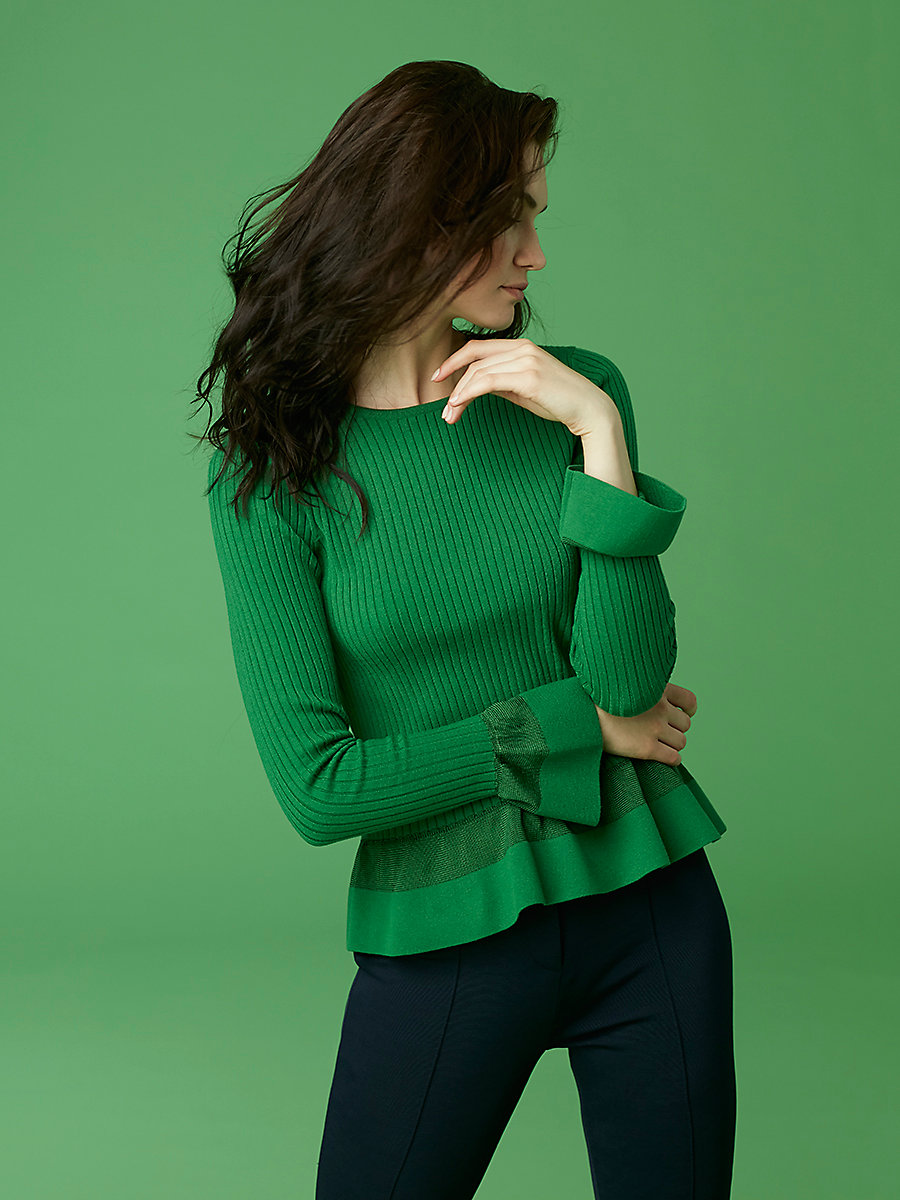Knit Peplum Top in Leaf by DVF