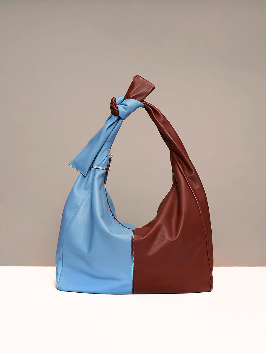 Slouchy Hobo Bag in Powder Blue/ Chestnut by DVF