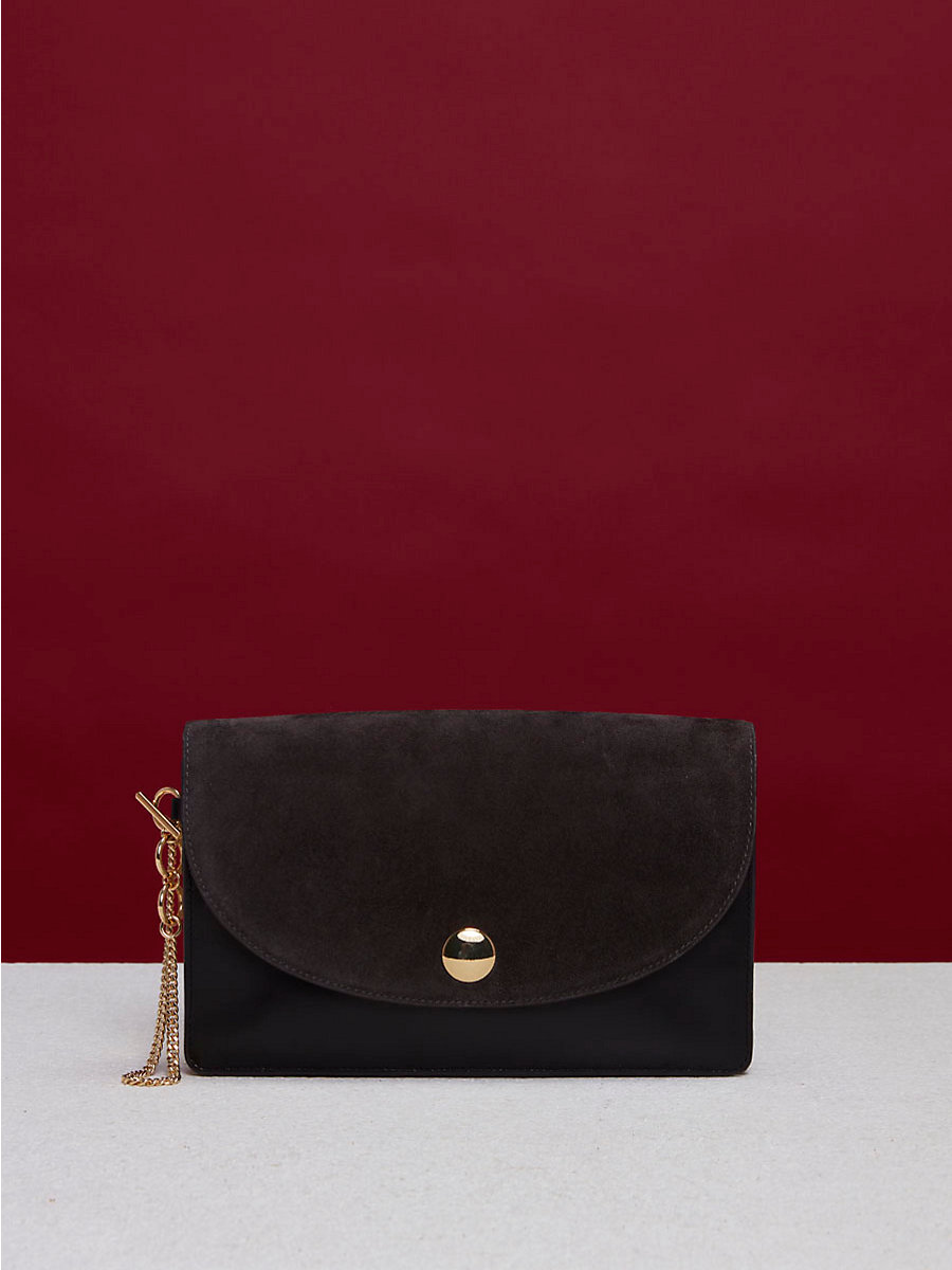 Saddle Evening Clutch in Ash/ Black by DVF