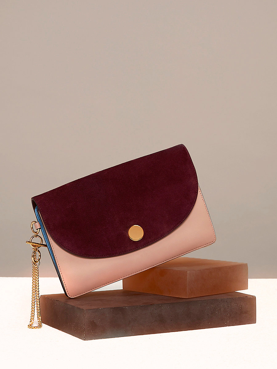 Saddle Evening Clutch in Bordeaux/ Dusty Pink by DVF