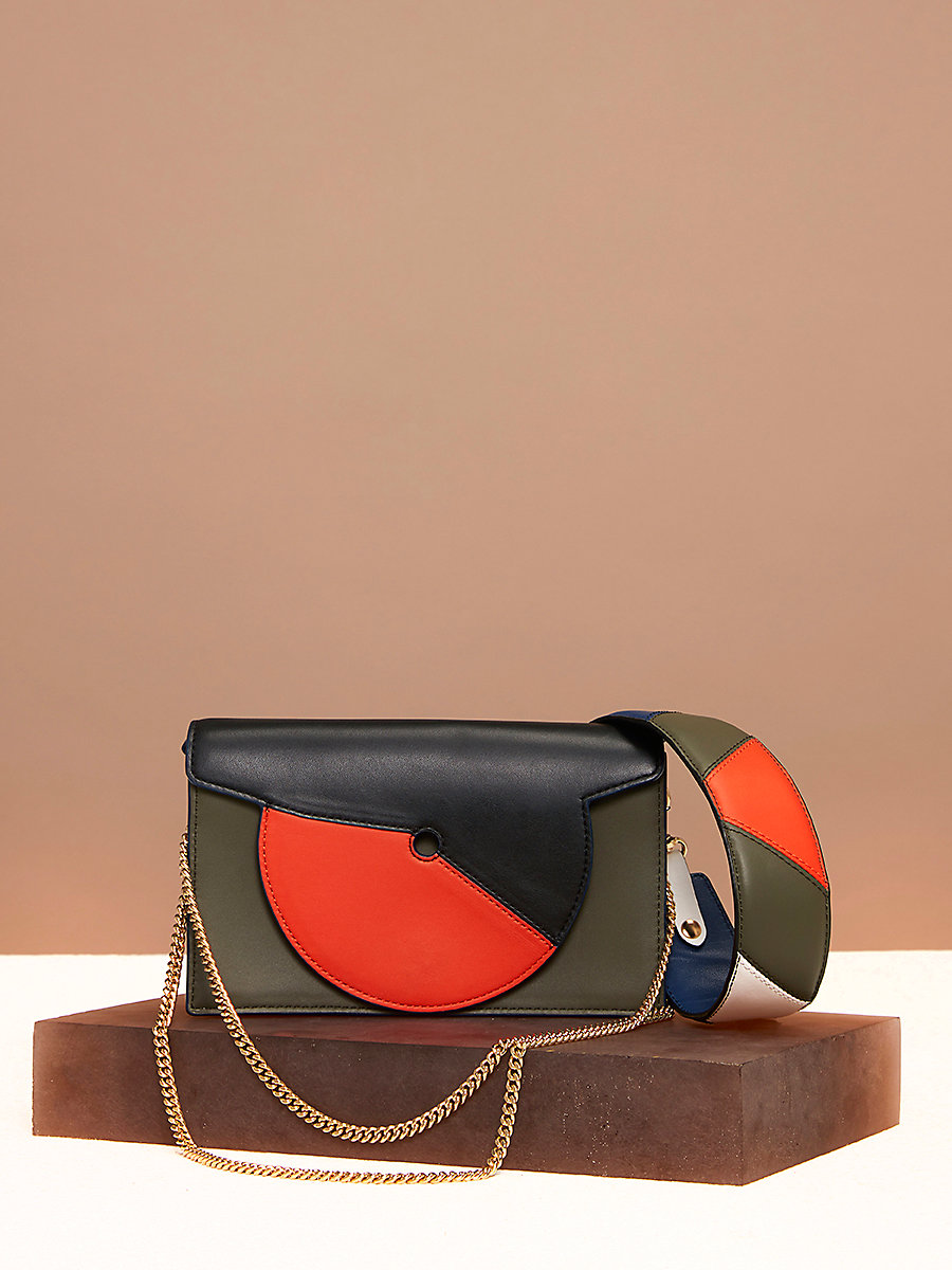 Swirl Soirée Bag in Black/ Orange/ Wellington by DVF