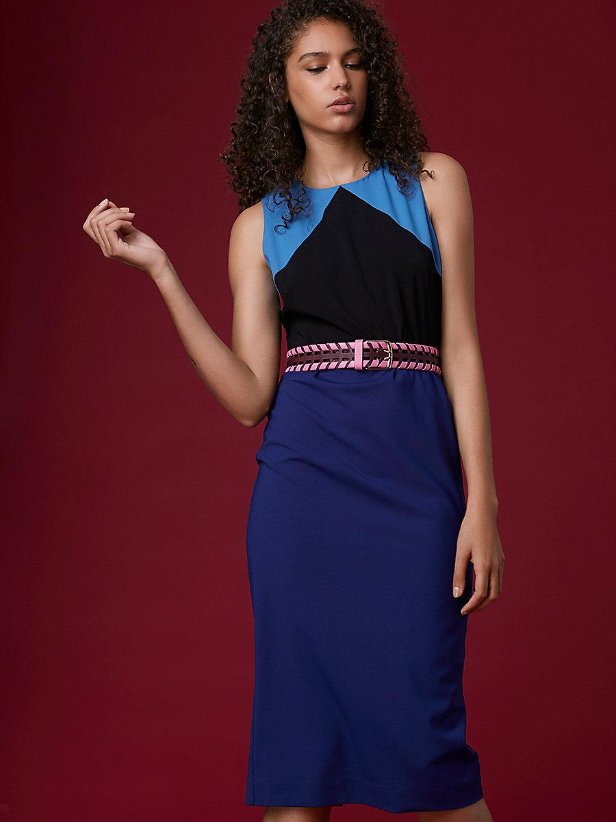 Tailored Midi Dress in Denim/ Black/ Deep Violet by DVF