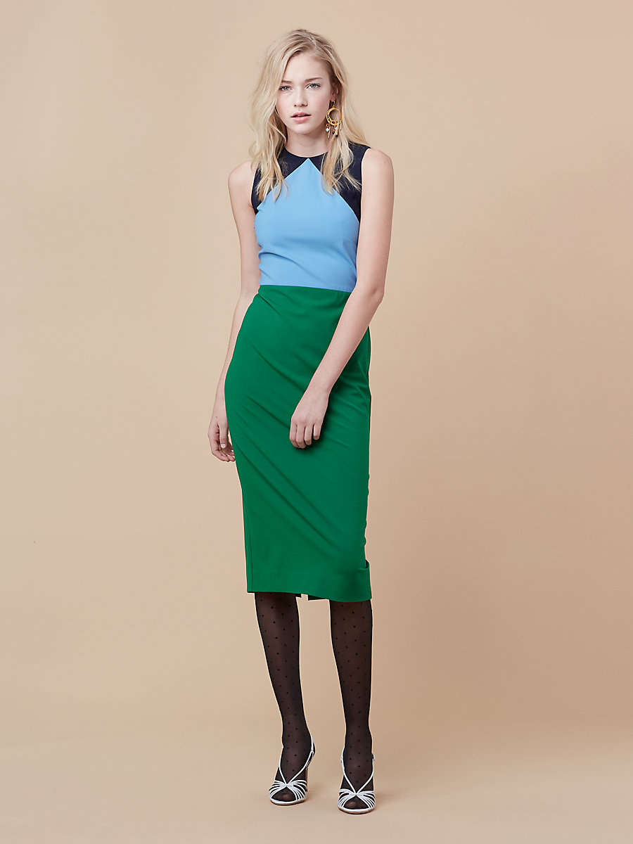 Tailored midi dress in Green Envy/ True Blue by DVF