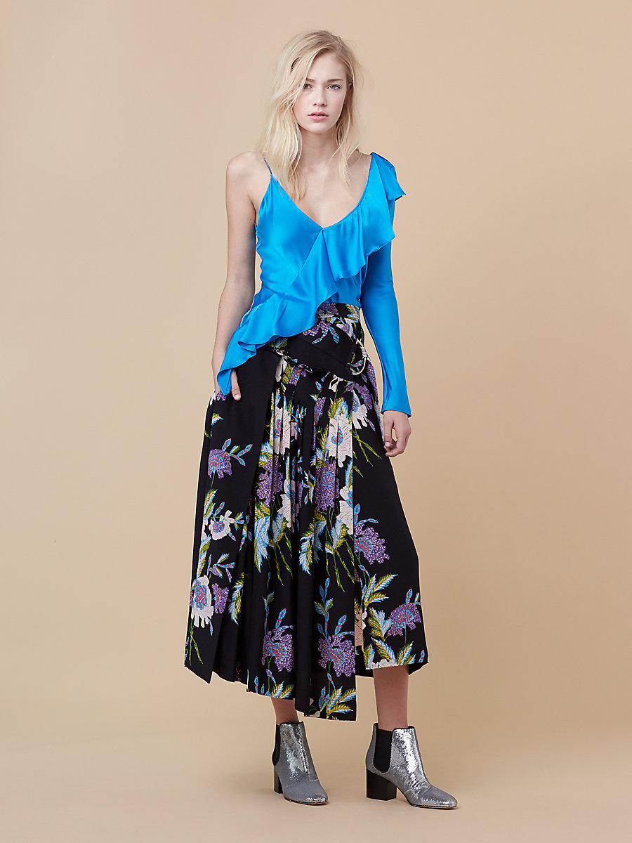 Asymmetric Ruffle Blouse in Turquoise by DVF