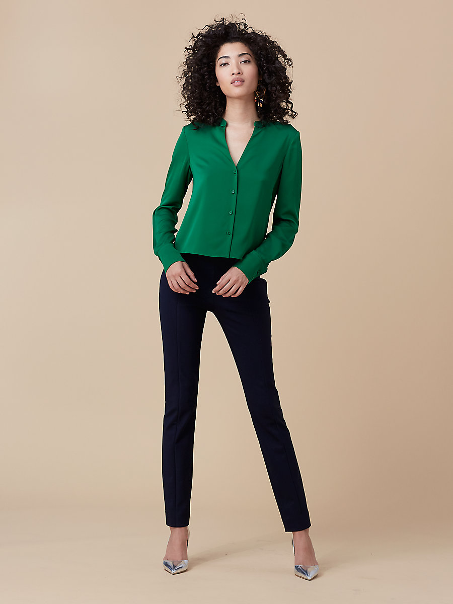 Silk V-Neck Top in Green Envy by DVF