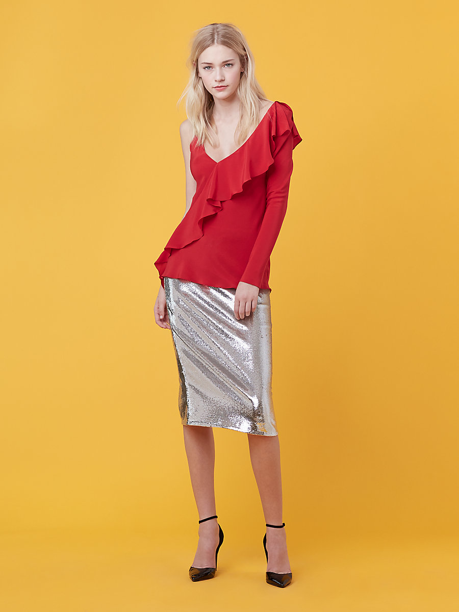 Asymmetric Ruffle Blouse in Dare Red by DVF