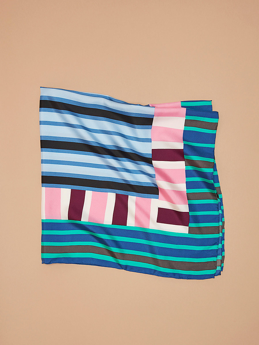Saxon Stripe Oversized Square Scarf in Saxon Stripe Aquamarine by DVF