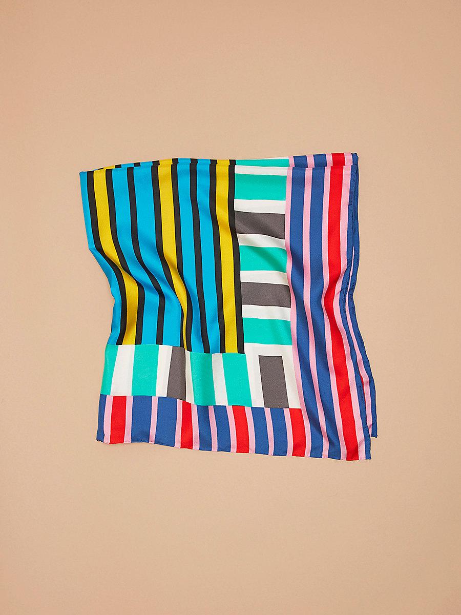 Saxon Stripe Oversized Square Scarf in Saxon Stripe Plastic Pink by DVF