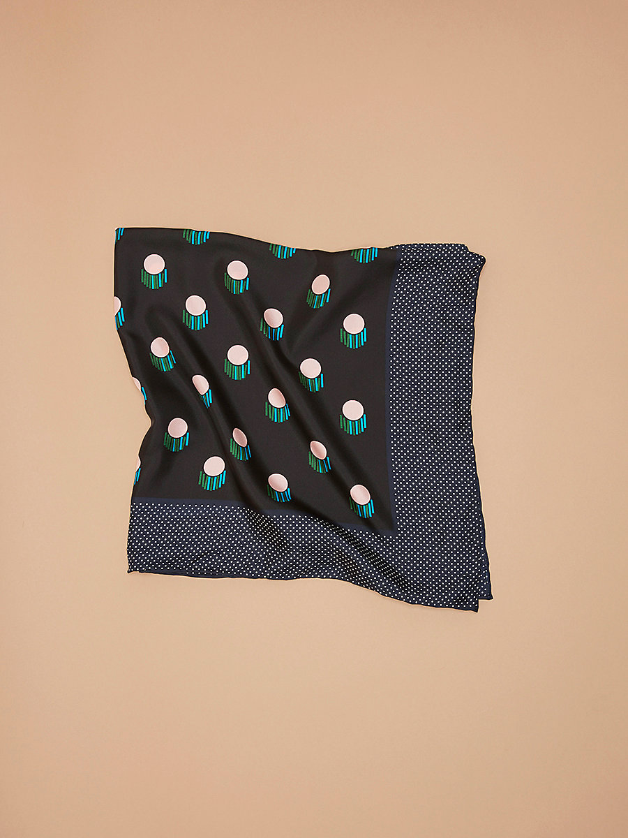 Casimir Square Scarf in Casimir Alexander Navy by DVF