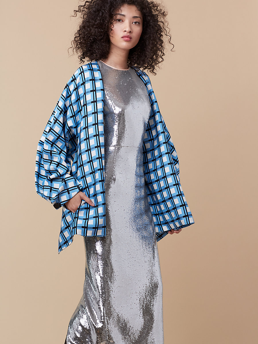 Wrap Front Jacket in Rivoli Check True Blue by DVF