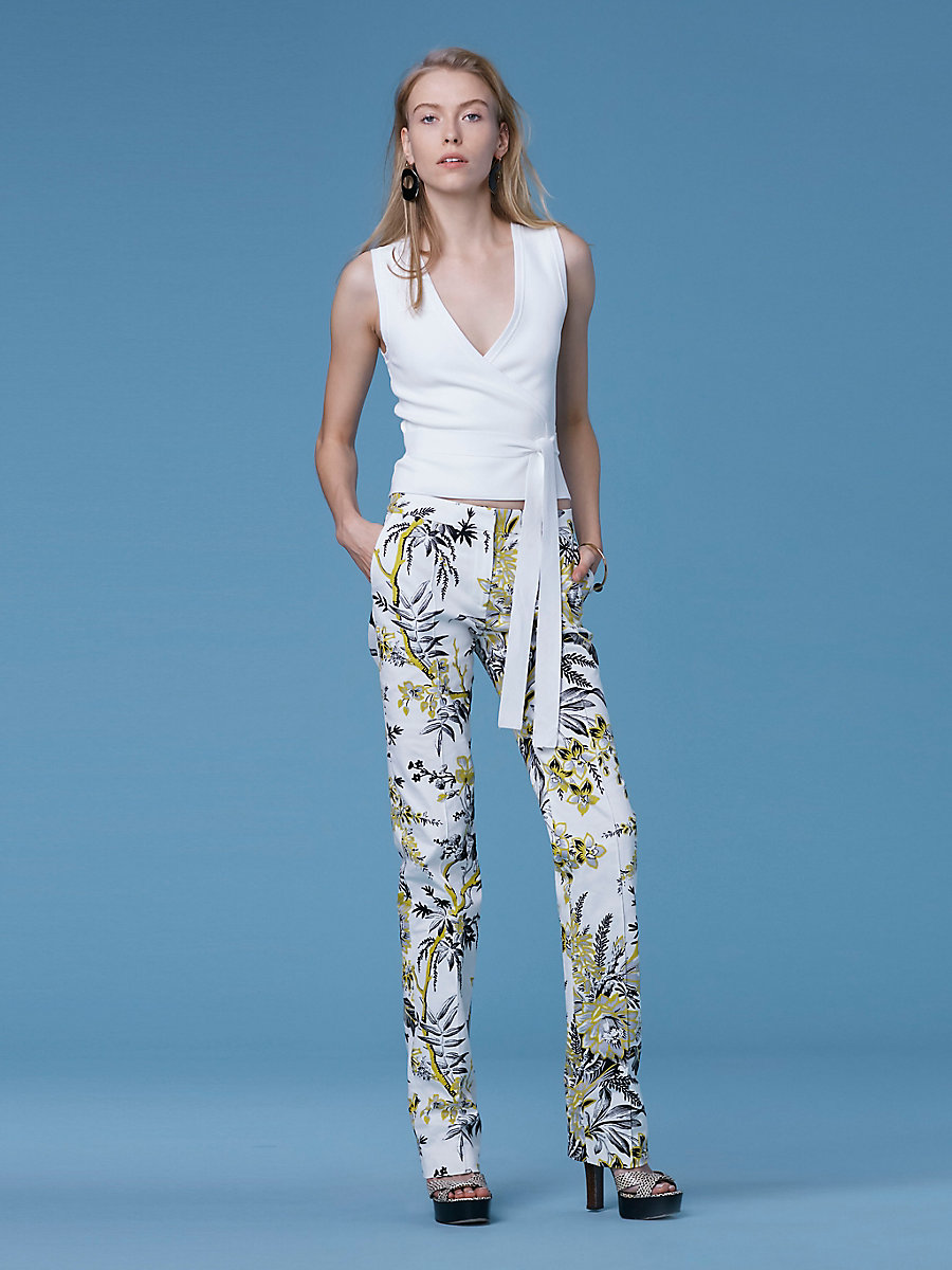 Cigarette Flared Pants in Avalon Ivory by DVF