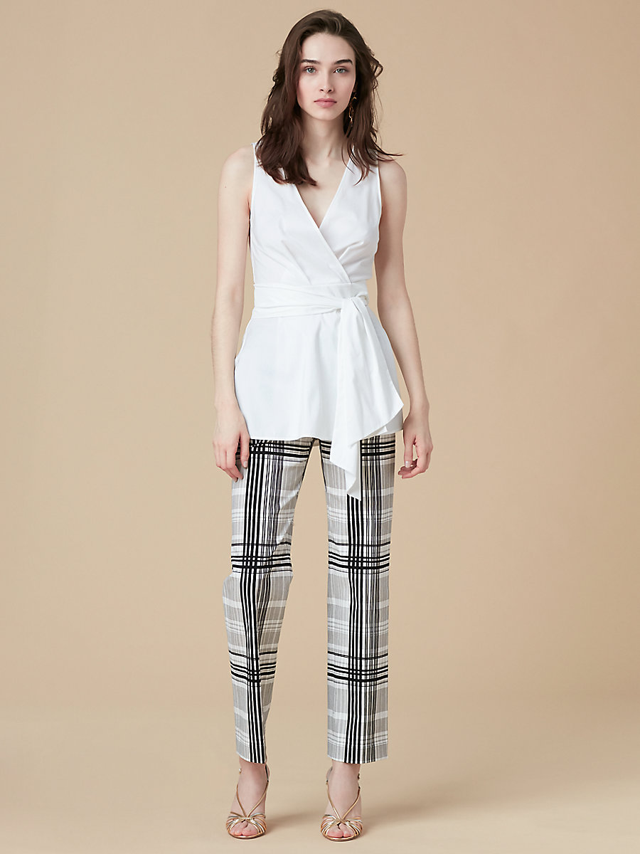 Peplum Wrap Top in White by DVF