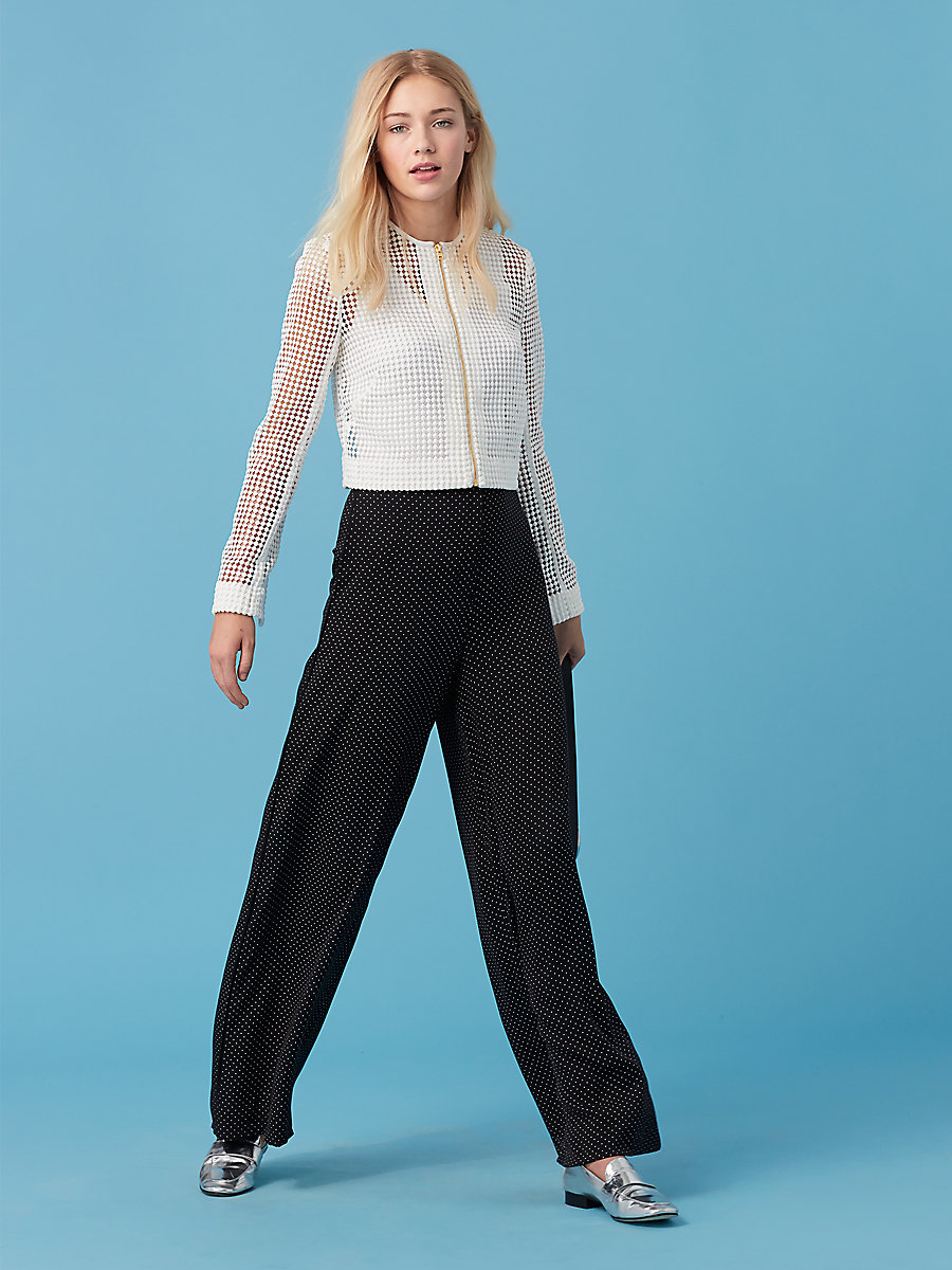 Wide Leg Pant in Navier Dot Black by DVF