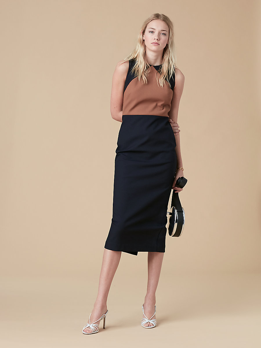 Sleeveless Tailored Dress in Alexander Navy/ Kola by DVF