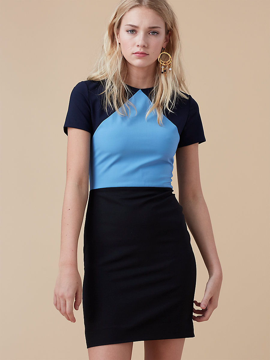 Tailored Shift Dress in True Blue/ Alexander Navy by DVF