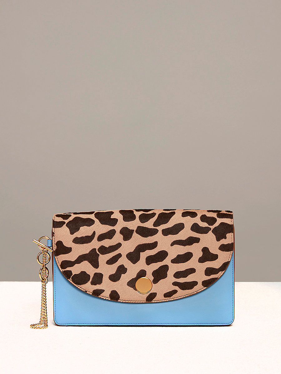 Saddle Evening Clutch in Leopard/ Powder Blue by DVF