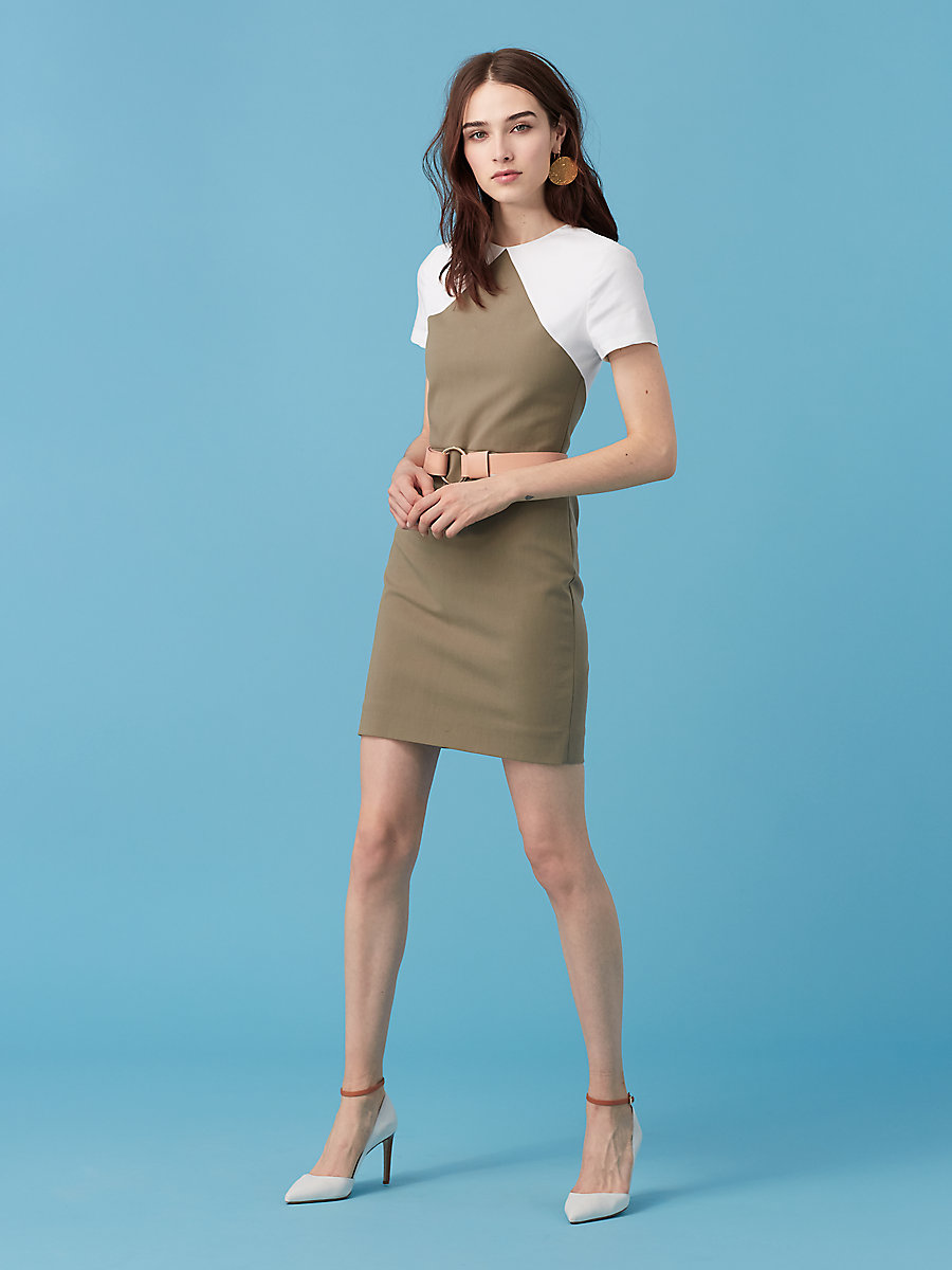 Short Sleeve Tailored Shift Dress in Khaki Green/ White by DVF
