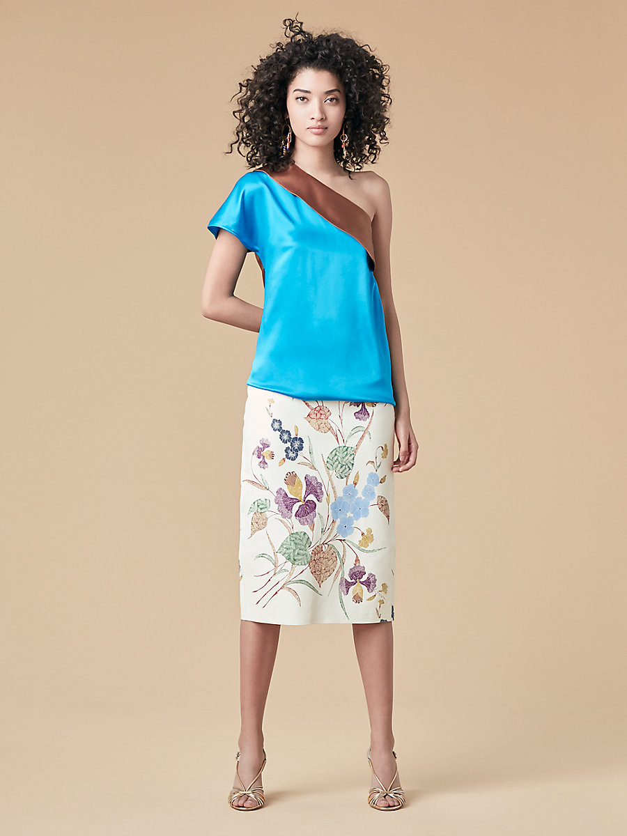 One Shoulder Satin Color Block Top in Turquoise/ Kola by DVF