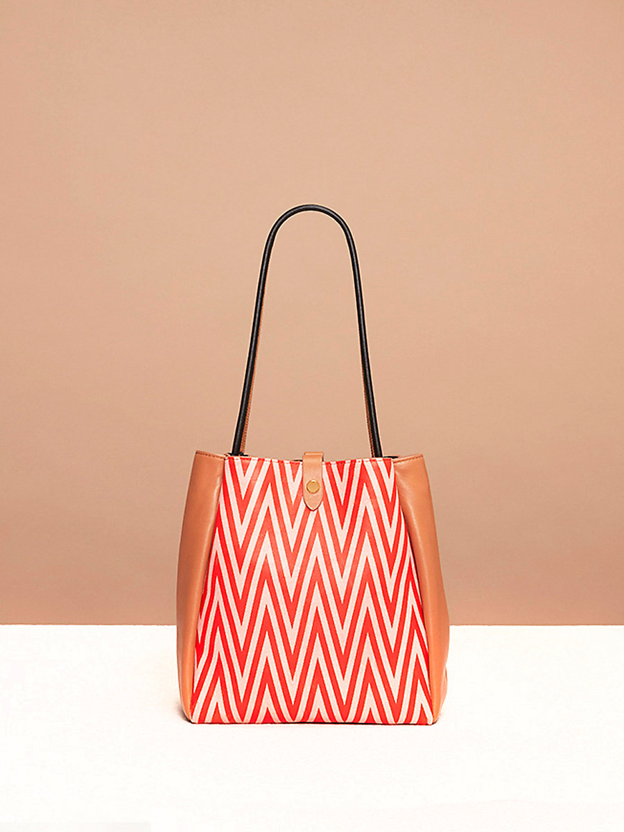 Pleated Drawstring Bag in Odeon Bright Red/ Camel by DVF
