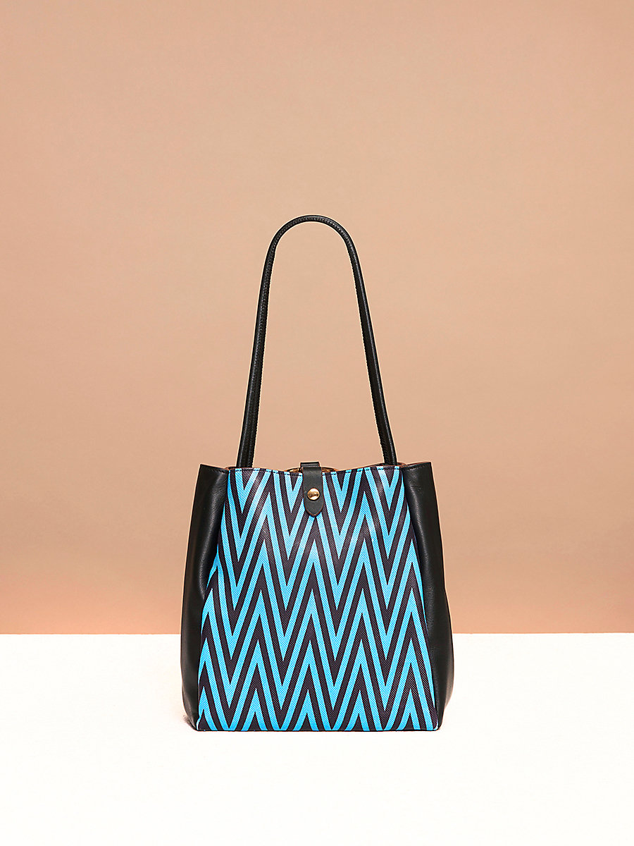 Pleated Drawstring Bag in Odeon Cerulean/ Black by DVF