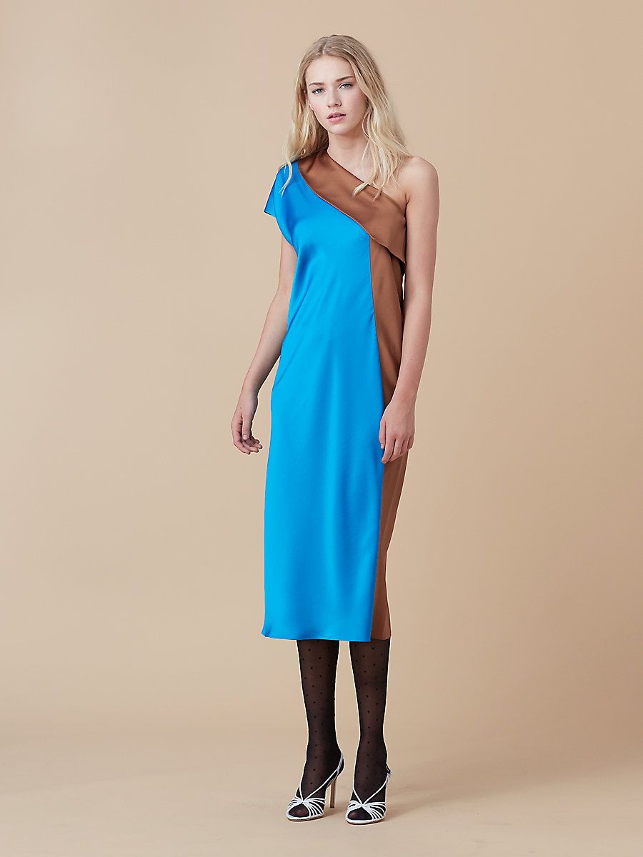 One Shoulder Color Block Dress in Turquoise/ Kola by DVF