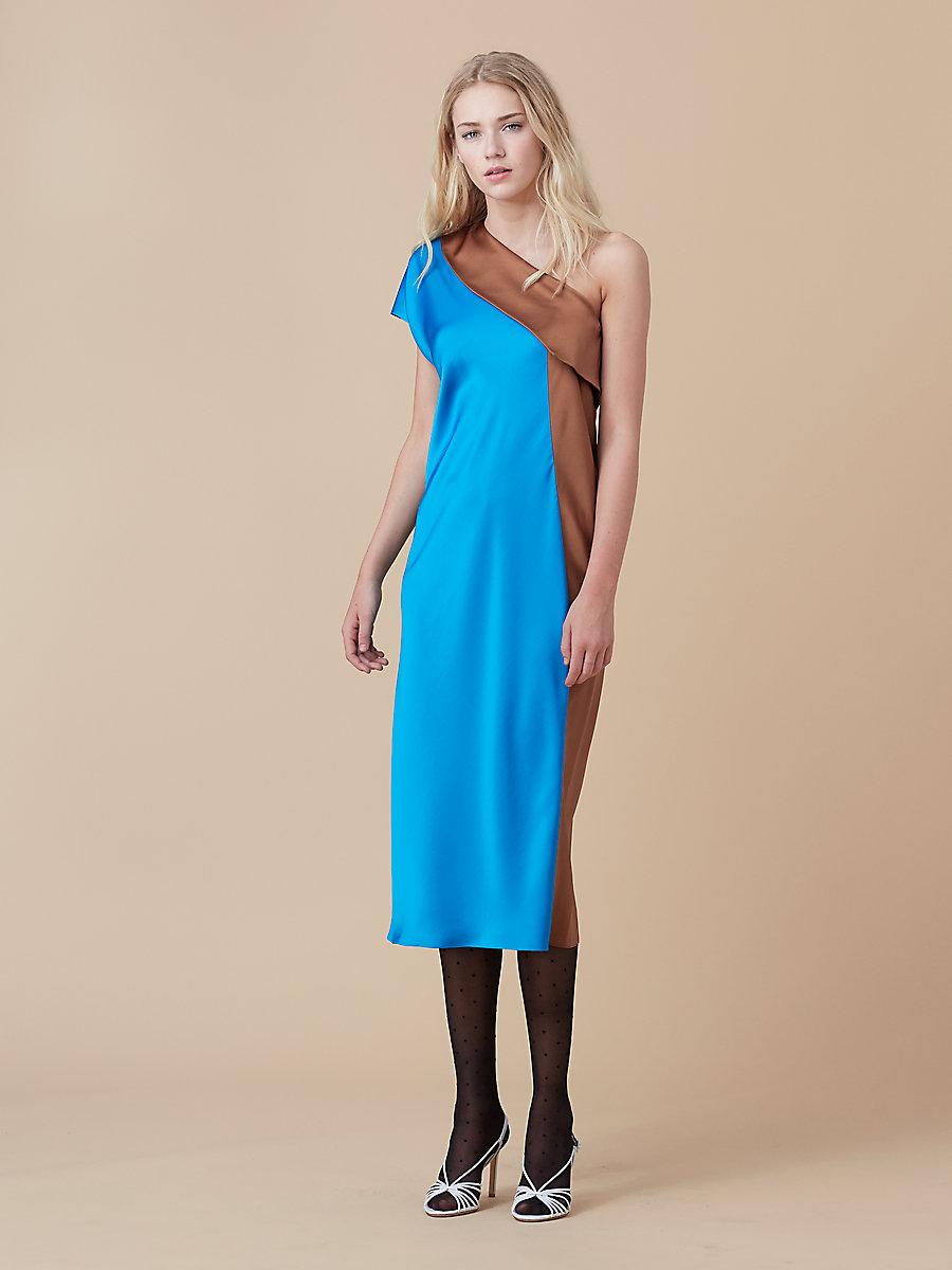 One Shoulder Color Block Dress in Turquoise/ Kola by DVF