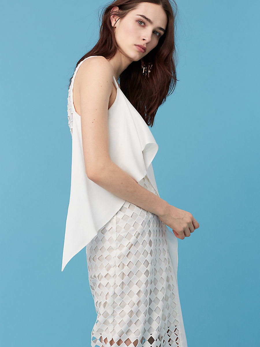 Asymmetric Lace Wrap Dress in Ivory by DVF