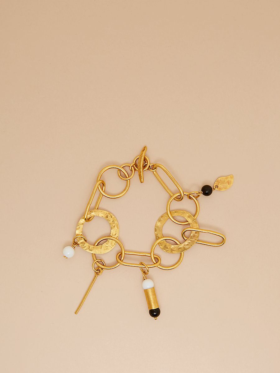 Hammered Gold And Stone Bracelet in Black Onyx/white Aggat by DVF