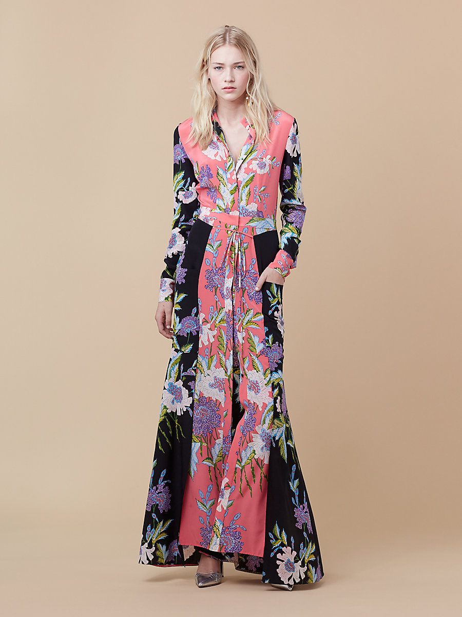 Floor Length Shirt Dress in Curzon Black/ Pink Coral by DVF