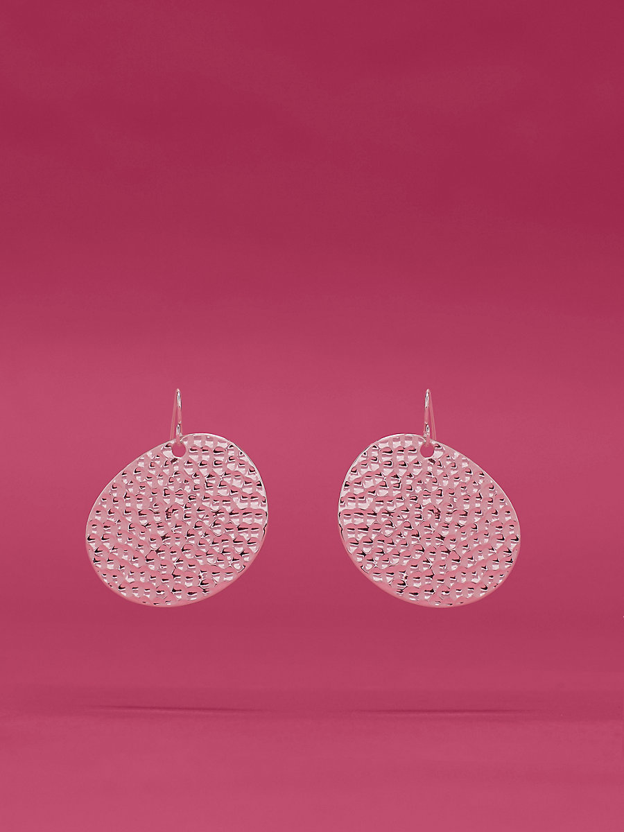 Hammered Disc Earring in Silver by DVF