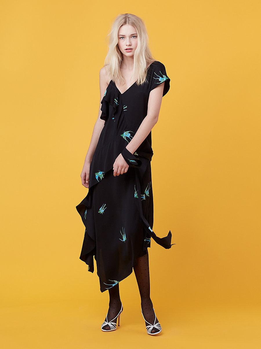Asymmetric Ruffle Dress in Ceres Black by DVF