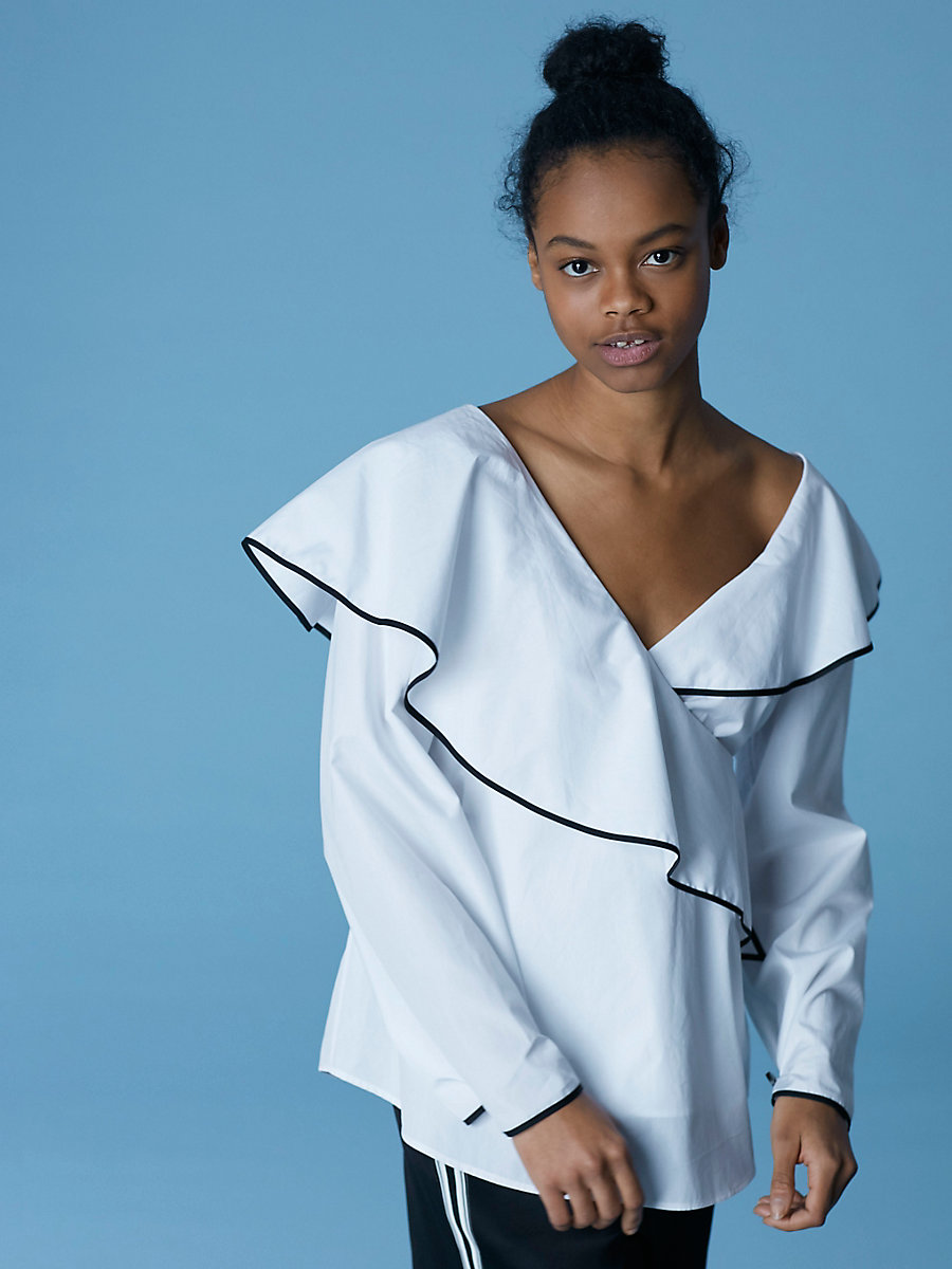 Long-Sleeve Ruffle Front Draped Blouse in White by DVF